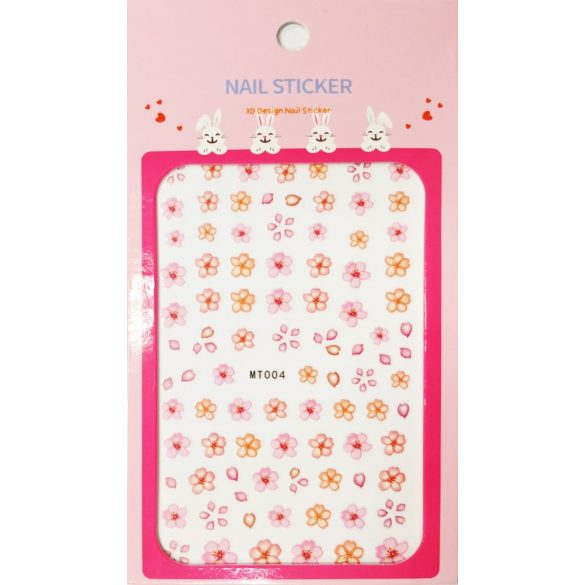Nail art Little Pink & Peach flowers stickers- MT004