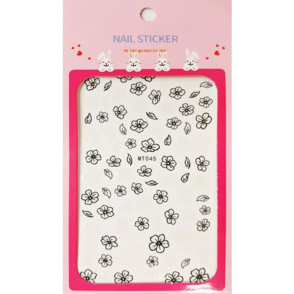 Nail art Black and White Flowers stickers- MT045