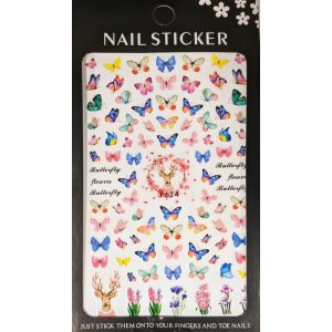 Nail art Butterflies and Flowers stickers- F624